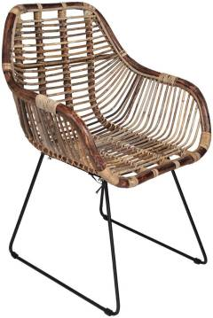 Bomont Collection Dining Chair Rattan/iron Brown 65x58xh88