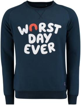 Cheaque Trui 'Worst Day Ever' Donkerblauw
