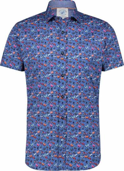 A Fish Named Fred Blouse Vlinder Blauw