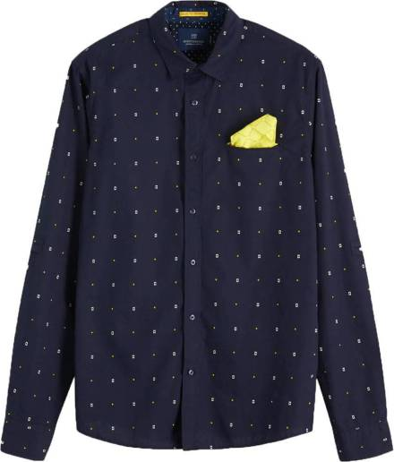 Scotch & Soda Overhemd All-over Printed donkerblauw