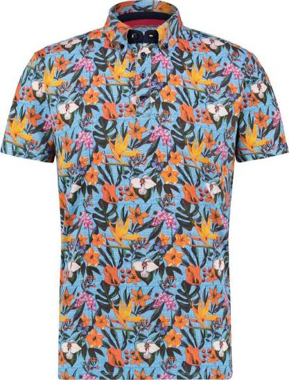 A Fish Named Fred Polo light blue floral jersey