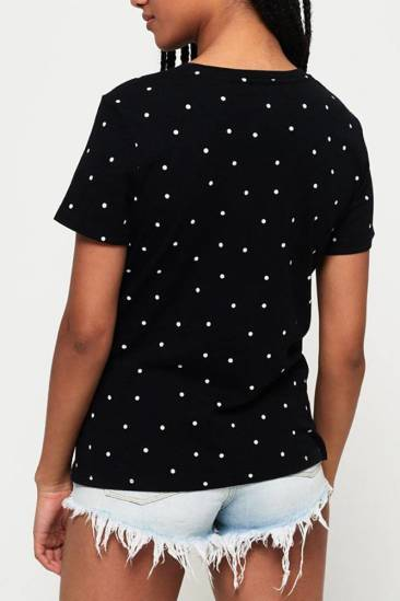 Superdry T-shirt Polka dot Zwart